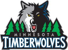 Minnesota Timberwolves Primary Logo (2009) - A wolf head next to a row of pine trees