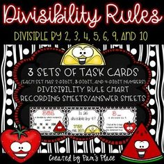 Learning the divisibility rules can help students become more efficient in math. Engage learners with these three divisibility rules task card sets to build help build fluency. The divisibility rules included in this set include: and Elementary Math, Upper Elementary, Divisibility Rules, Math Tools, Math Division, Math Facts, Math Resources, Printable Cards, Teaching Math