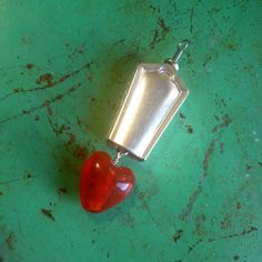 Vintage Upcycled Knife Handle Bell Jewelry Pendant - Wire Tied Bead Charms - Red Glass Heart by JuLieSJuNQueTiQue on Etsy