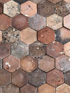 Deep Reds and Brown: French Reclaimed Hexagon Terra Cotta Tiles - Historic Decorative Materials, a division of Pavé Tile, Wood & Stone, Inc. Stone Tile Flooring, Tile Wood, House In The Clouds, Old Home Renovation, Paving Pattern, Decorative Wall Tiles, Glass Extension, Red Tiles, Wood Stone