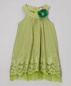 Look at this Green Flower Cutout Yoke Dress - Girls on #zulily today!