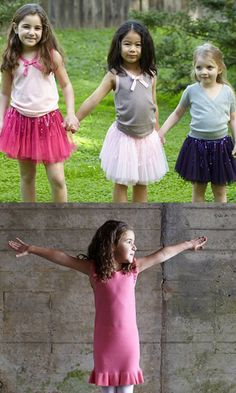 Pretty tulle skirts and ruffled dresses for girls.