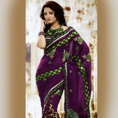 #Purple and Green Faux Georgette and Brasso #Saree With Blouse