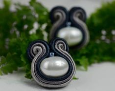 Navy blue and grey studs with freshwater pearls earring Pearl everyday earrings for sensitive ears G