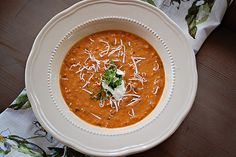 Roasted Tomato Basil Soup -- Ina Garten; this is the best tomato soup ever! Very healthy; no cream but tastes like it does!