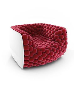 Blueberry - Armchair Made of 220 Balls by BYografia - deco NICHE Funky Furniture, Unique Furniture, Furniture Design, Furniture Stores, Furniture Nyc, Furniture Upholstery, Furniture Online, Furniture Outlet, Discount Furniture