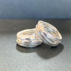 Two of the three rings made by Ngaire from Stawell. This wrapped wire was first made from wax and cast in sterling silver. They look so good.