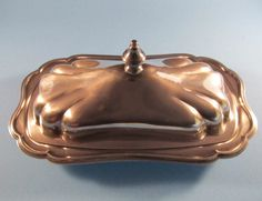 Scalloped Silver Butter Dish with Glass Insert by ThreeBestGirls