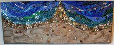 Mosaic, Mixed Media, Ocean Shoreline and Footprints. $275.00, via Etsy.