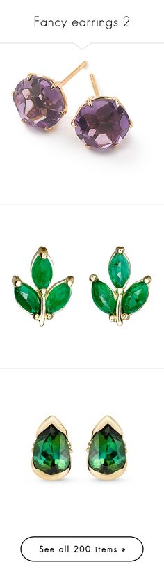 """""""Fancy earrings 2"""" by neeeea ❤ liked on Polyvore featuring jewelry, earrings, purple, post earrings, purple amethyst jewelry, rock jewelry, rock earrings, purple jewelry, no color and earring jewelry"""