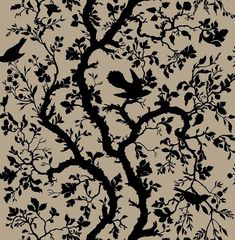 Timorous Beasties Fabric - Birdbranch (I'm just thinking this would be perfect for a Sleeping Beauty themed girl's room) Textile Patterns, Print Patterns, Textiles, Floral Patterns, Blue And White Fabric, Timorous Beasties, Bird On Branch, Modern Prints, Fabric Wallpaper