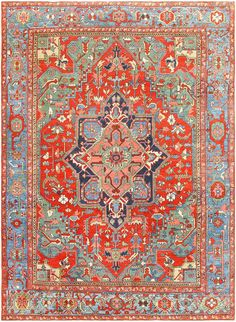 Click here to see this lovely antique Persian Heriz Serapi Rug which is available for sale through the Nazmiyal Collection in New York.