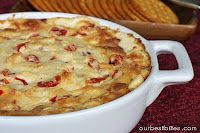Cheesy Roasted Red Pepper Dip. This blog also has other great recipes...Baked Brie w/ Red Pepper Jelly!