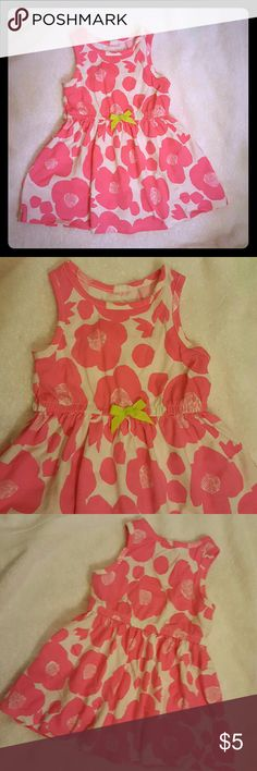 18m summer dress Bright pink flower dress. Stretchy waist with a cute little green bow. Sleeveless Worn maybe once. No stains From Circo Circo Dresses Casual