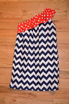 Navy Chevron Nautical One Shoulder Dress/Sailor/Forth of July/Beach Dress on Etsy, $28.00