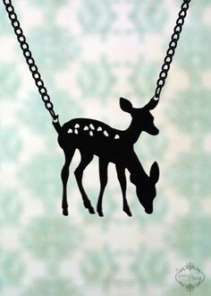 Conjoined Twin Deer necklace in black stainless steel - woodland animal bambi deer silhouette