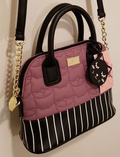f4b4a5a6a Betsey Johnson Kitty Cat Crossbody Dome Barrel Handbag satchel purse  lavender #BetseyJohnson #Crossbody #