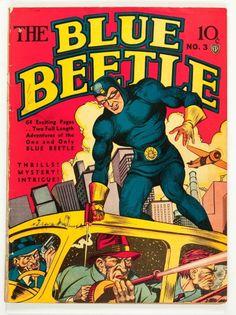 Blue Beetle (Jul-Aug cover by Joe Simon. Vintage Comic Books, Vintage Comics, Comic Book Characters, Comic Character, Joe Simon, Blue Beetle, Old Time Radio, Classic Comics, Batman And Superman