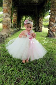The Vintage Pink Ivory Tutu Dress- Pink, Ivory, Blush, Mauve, Tan, Flower Girl, Wedding, Birthday, 1st birthday, Pageant