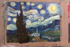 Noche estrellada. Pintura al oleo