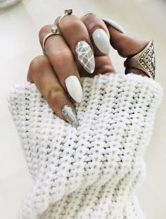 Manicure Geometric Nail Art Ideas in 2020 Grey Nail Designs, Popular Nail Designs, Best Nail Art Designs, Acrylic Nail Designs, Acrylic Nails, Toe Designs, Gray Nails, White Nails, Grey Nail Art