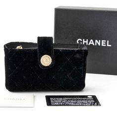 Chanel Black Quilted Velvet Mini Purse Clutch $645