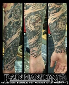 BIOMECHANIC ENGINE PARTS SCAR TORN SCRACHED SKIN TATTOO PAIN MANSION ...
