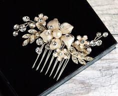 Pearl Hair Comb Crystal Bridal Hair Comb by LordandGreyBridal