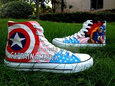 2013 Captain America:Studio Hand Painted Shoes High Top 55.99Usd,Paint On Custom Converse Shoes Only 95Usd,Buy One Get One Phone Case Free