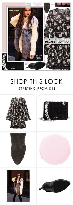 """""""Winter Prints: Dark Florals & Mixed Fox Vest"""" by typealpha ❤ liked on Polyvore featuring Ulla Johnson, Miu Miu, Casadei, Smith & Cult and MAC Cosmetics"""