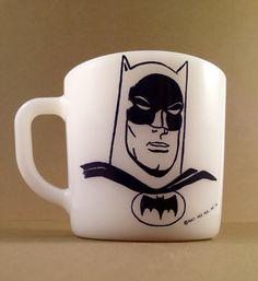 Vintage Batman Milk Glass  Coffee Mug by VintageDelirium on Etsy, $25.00