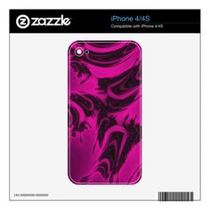 Pink and black fractal decals for iPhone 4S, customized, personalized, name, text, artwork, buy, sale, gift ideas, zazzle, pink, black, spots, fractal, magenta, bright, purple, colorful, dark, abstract,  design