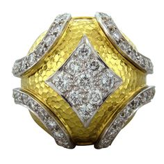 DAVID WEBB Diamond Gold Platinum Dome Ring |Pinned from PinTo for iPad|