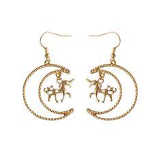 Trendy Punk Ferocious Animal Anime Unicorn Horse Moon Dangle Earrings Gold Color Simple Stylish Ohrringe Grandes Fashion Para