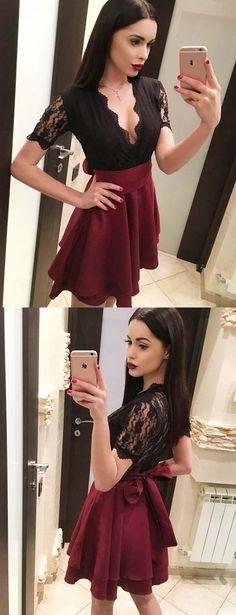 Sexy A-Line V Neck Short Homecoming Dress #homecomingdresses #shorthomecomingdresses #2018homecomingdresses #cocktaildresses