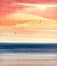 Watercolour painting Sunset seas - paint and art Watercolor Paintings Nature, Watercolor Paintings For Beginners, Watercolor Sunset, Watercolor Pictures, Watercolours, Watercolour Painting Easy, Sunset Paintings, Indian Paintings, Beach Sunset Painting