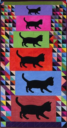 "Black Cats, 2012, 24"" x 45"" by Karen Duling."
