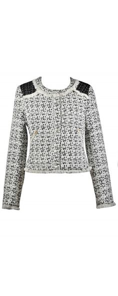 8452777500a78 Lily Boutique Park Avenue Pretty Ivory and Black Collarless Tweed Jacket