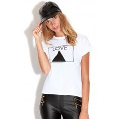 White 'Love' T-Shirt   A casual day top is a key piece for a laid back look   ♥T-Shirt ♥95%Polyester 5 %Elastane