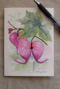 Pink Bleeding Heart Watercolor Painted Card by SunsetPeonies