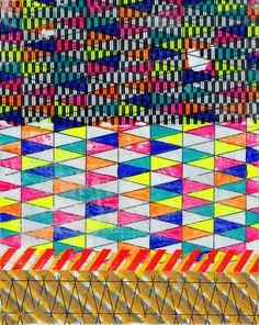 Geometric Painting Pink Yellow & Black on by JenniferSanchezArt