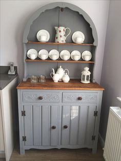 "1970's Dutch dresser. Wilkinson's ""wilko"" chalk furniture paint in Anthracite."