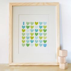 8x10 I Love You Print Aqua Love and Heart kids by trendypeas