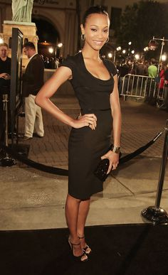 Actress Zoe Saldana arrives at the premiere of Paramount Picture's 'Cloverfield' at the Paramount Pictures Lot on January 16, 2008 in Los Angeles, California.