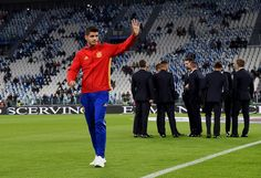 Alvaro Morata of Spain on the pitch prior to the FIFA 2018 World Cup Qualifier between Italy and Spain at Juventus Stadium on October 6, 2016 in Turin, Italy.