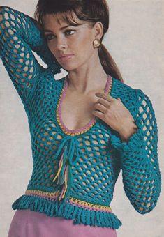 1970's #Crochet - Women's Laced-Up Sweater free vintage pattern