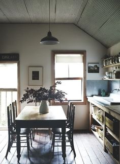 rustic wood kitchen dining