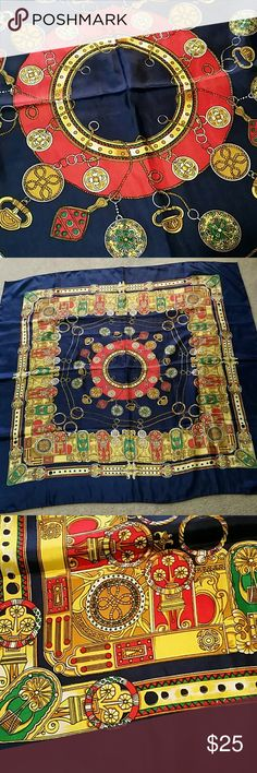 GORGEOUS  FABERGE  TYPE SCARF A Really nice scarf,so colorful,  never worn,  been packed away ,many designs of Charms ,Ornaments etc. Has a nice feel to it  .so is 36 x36. Add to your collection today. Bundle and save ! Accessories Scarves & Wraps