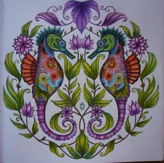 """Coloured by me from the colouring book by Johanna Badford - """"Lost Ocean"""""""