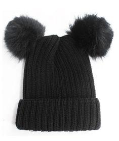 a9d97bd7a00 Double Fur Pom Pom Beanie Hat